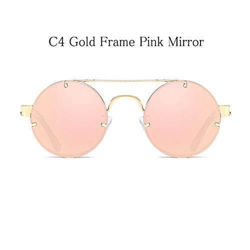 Kjwsbb Metal Fashion Sonnenbrillen für Frauen Round Mirror Men Sonnenbrillen