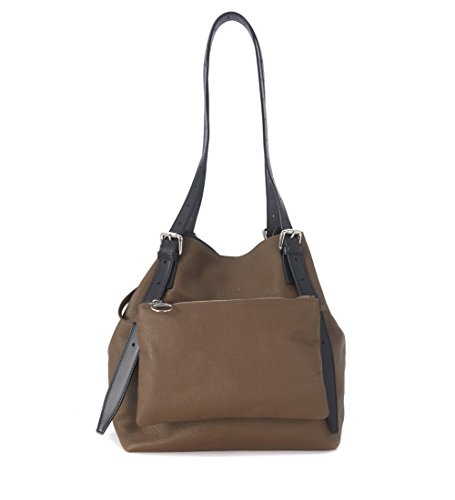 Borsa MM6 Maison Margiela media in pelle di vitello marrone con pochette