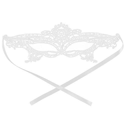 DealMux Frauen Sexy Maskerade Kostüm-Halloween-Abend-Kugel-Partei-Kleid Eyemask Lace-Augen-weiße Maske