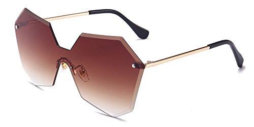KINDOYO Damen Fashion Oversize-Sonnenbrille, unregelmäßige Polygon-Brillen, Hippie-Sonnenbrille, UV400-Schutz, nicht polarisierte Sonnenbrille