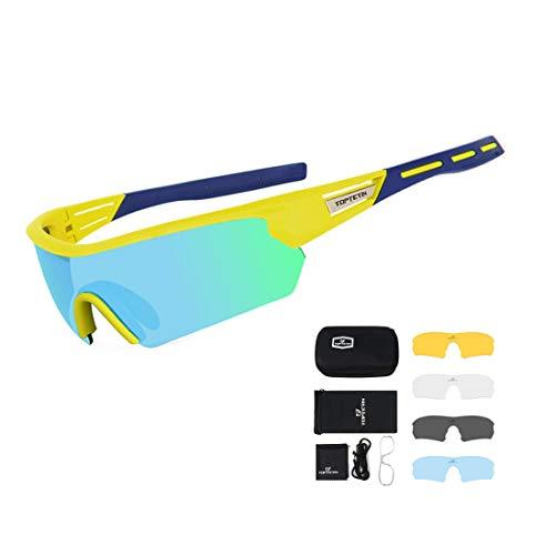 TOPTETN Fahrradbrille Polarisierte Sonnenbrille, UV400-Schutz Sportbrille für Herren und Damen, Radbrille mit 5 Wechselobjektiven und Etui für Radsports, Baseball, Laufen Sportsonnenbrille