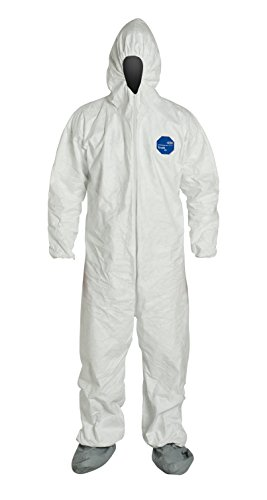 DuPont TY122S Disposable Elastic Wrist, Bootie & Hood White Tyvek Coverall Su...