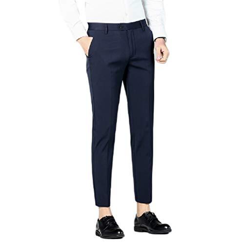 CuteRose Men's Business Wrinkle Resistant Straight Casual Plain-Front Pant Navy Blue 33 -