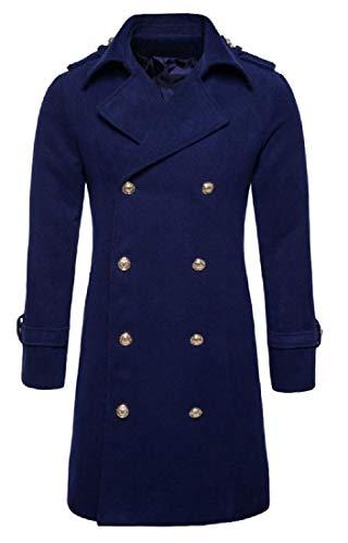 CuteRose Men's Slim Casual Eco Fleece Coat Jacket with Chin Guard Navy Blue M Navy Wool Toggle Coat