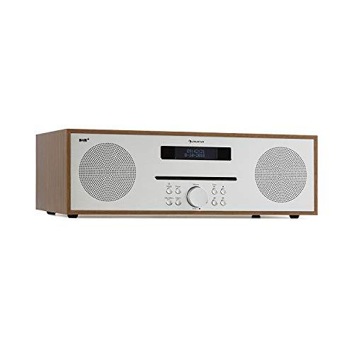 auna Silver Star CD-DAB CD-Player mit DAB+- und UKW-Radio - Slot-In CD-Player, CD-Radio, Bluetooth, 2 x 20 Watt max, USB, AUX-IN, Kopfhörerausgang, Holz-Optik, inkl. Fernbedienung, braun