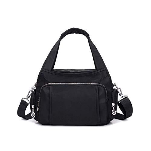 WANGQW Neue Frauen Tasche Nylon Tuch Handtasche Weibliche Messenger Tasche Mehrschichtige Wasserdichte Umhängetasche Oxford Tuch Beiläufige Große Kapazität Tasche Schwarz -