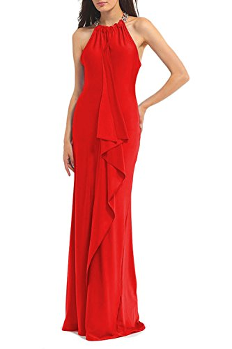 WIWIQS Frauen Elegantes Sleeveless Rüsche Abend Party Cocktail Brautjunfern langes Kleid Mittelrot