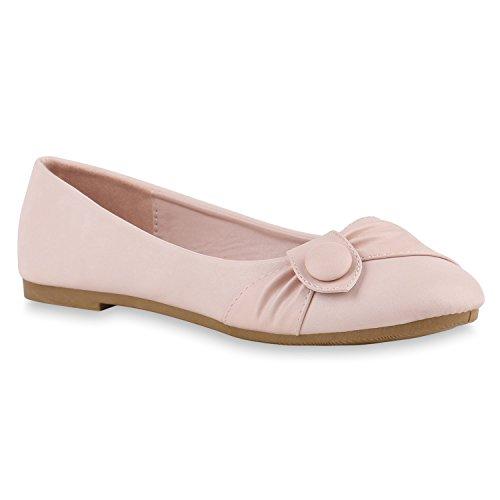 Stiefelparadies Klassische Damen Ballerinas Leder-Optik Flats Übergrößen Flache Slipper Spitze Prints Strass Schuhe 141150 Rosa Knopf 38 Flandell