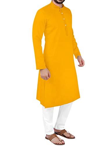 PARALLEL TIMES Men's Cotton Traditional Cotton Kurta Yellow