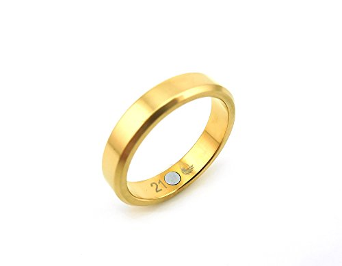 Exquisiter Magnetring Energetix 4you 1776 Gold Schlichtes Design schmal 24k hartvergoldet 16 bis 21 Partnerring Ehering Verlobungsring - (19) (20)