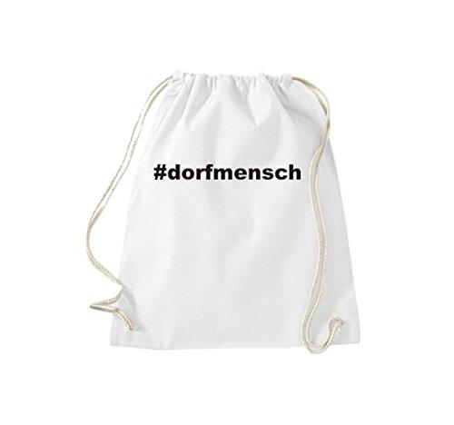Turnbeutel #DORFMENSCH Hashtag Gymsack Kultsack Weiß