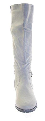 Stiefel Damenschuhe Farbe Grau mit seitlichem Reißverschluss Grau