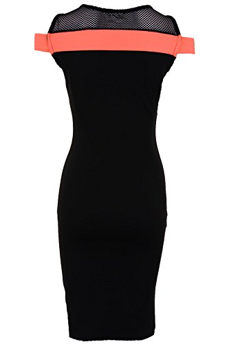SAPHIR Femmes Résille Épaule Découverte Noir Contraste femmes Robe Moulante Soirée 8-16 Corail