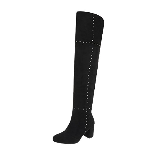 Ital-Design Overknees Damen-Schuhe Overknees Pump Nieten Besetzte Reißverschluss Stiefel Schwarz, Gr 39, 77-9-