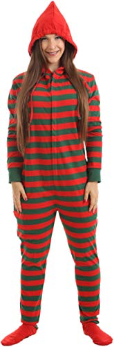 Erwachsenenstrampler Baumwolle MIT Füßen und Kapuze 'Elfie' in festlichem Rot-Grün (MG bis 170cm Körpergröße und größerem Bauchumfang)