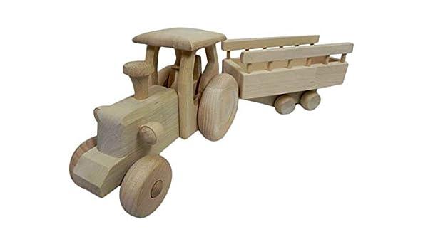 Wooden World Trattore con RIMORCHIO, Giocattolo in Legno