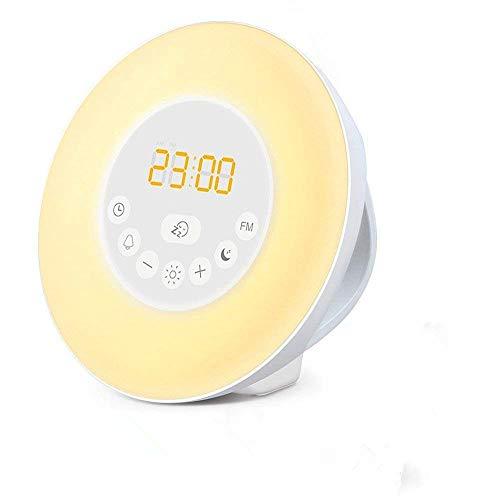 Meerveil Wake Up Light Luces despertador Radio Reloj (Luz Blanca/ 7 colores, Modo de Siestecita, Reloj, Control táctil, Sonidos naturales, FM, Auto-encender/ apagar, 15 niveles de volumen) Alimentada por pilas o adaptador