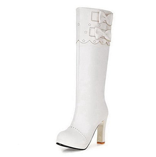 AgooLar Damen Knie Hohe Ziehen auf Blend-Materialien Hoher Absatz Rund Zehe Stiefel, Weiß, 39