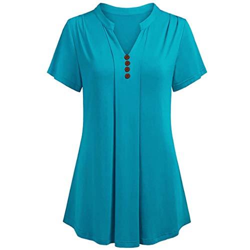 Bfmyxgs Woman S-6XL Plus Kurzarm V-Ausschnitt Loses T-Shirt Lässige Tunika Tops Bluse Multi-Color Optional (Barbie Spielen Halloween-kostüm)
