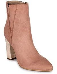 Bruno Manetti Women Suede Pink Heel Boots