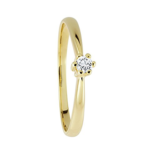 Diamond Line Diamant-Ring Damen 585 Gelbgold mit 1 Brillianten 0.05 ct. Lupenrein (Diamant-ring Gelb-gold)