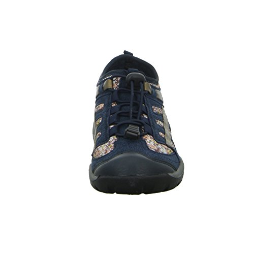 Alyssa 246011 Damen Slipper Halbschuh sportlicher Boden Casual Blau (Blau)