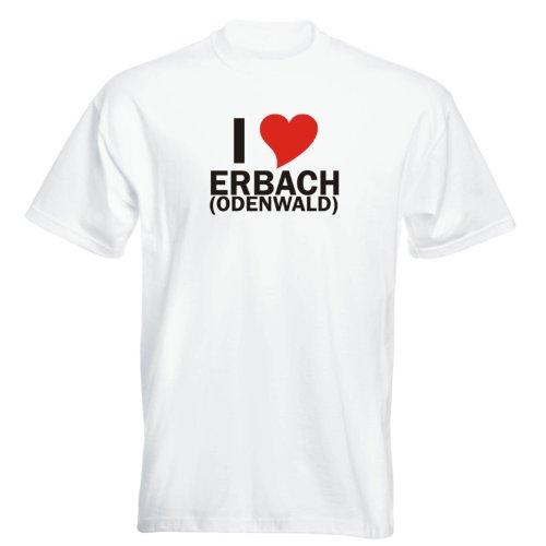 T-Shirt mit Städtenamen - i Love Erbach (Odenwald) - Herren - unisex Weiß