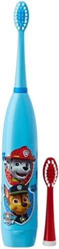 Lorenay LN-1115 - Cepillo de dientes electrico con dos cabezales y pila, estampado Paw Patrol, Transparente