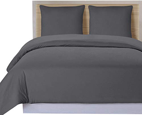 Utopia Bedding 3-Teiliges Bettbezug-Set - Bettbezug Plus 2 Kissenbezüge, Luxus-Soft-Hotel-Qualität Falten, verblassen und Flecken Resistent (Bettbezug 200x200 cm 2 Kissenbezug 80x80 cm, Grau)