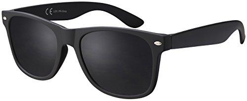 Original La Optica Verspiegelte UV400 Unisex Retro Sonnenbrille Art - Gummiert Schwarz (Gläser: Polarisiert Grau)