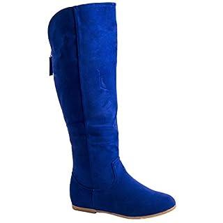Elara Damen Stiefel | Warm Gefüttert | Bequeme Langschaft Boots | Flache Zipper (39, Blau)