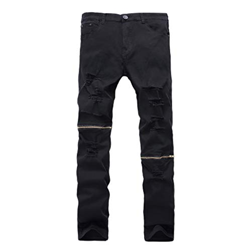 Xmiral Jeans Uomo Moda Biker Strappato Jogger Distressed Lavato Slim Fit Pantaloni Gamba Affusolata personalità Strappato Slim Zipper Pantaloni Stretch (40,8- Nero)
