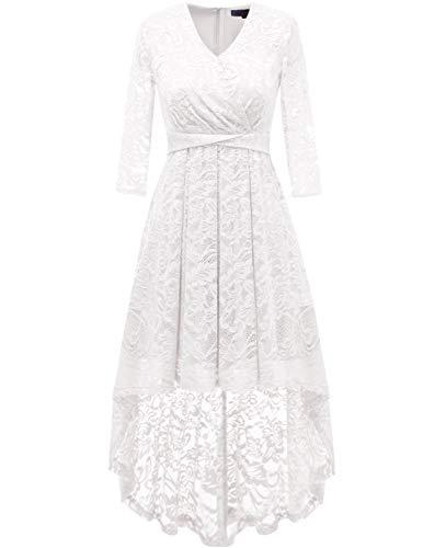 DRESSTELLS Abendkleider elegant Cocktailkleid Unregelmässig Spitzenkleid Vokuhila Floral Kleid White 2XL