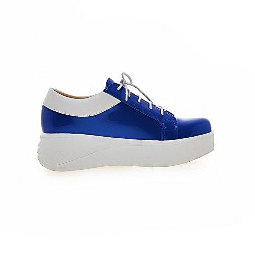 VogueZone009 Damen Mittler Absatz Gemischte Farbe Schnüren Lackleder Rund  Zehe Pumps Schuhe Blau ...