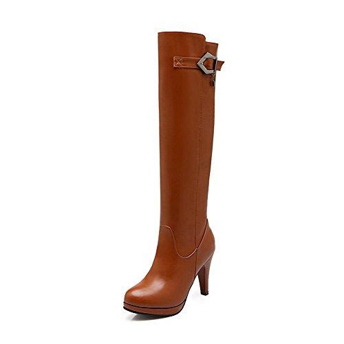 AgooLar Damen Rund Zehe Blend-Materialien Ziehen auf Hoher Absatz Stiefel, Weinrot-Metallstück, 41