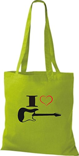 Shirtstown Stoffbeutel Musik I love E-Gitarre Lime