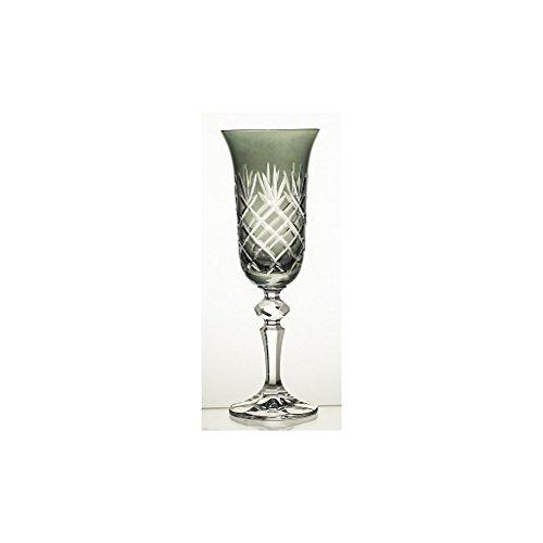 Flûte de champagne noir Ananas 150ml, vert, verre, (GERMAN Cristal powered by CRISTALICA)