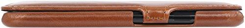 StilGut Book Type Case, Hülle Leder-Tasche für Apple iPhone 8. Seitlich klappbares Flip-Case aus Echtleder für das Apple iPhone 8, Schwarz mit Clip Cognac - mit Clip
