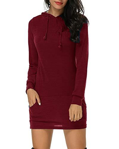 Kidsform Femme Sweat Mini Robe Women Dress Lâche Loose Pull Casuel Sweat-Shirt à Capuche Manche Longue Drawstring Dress Rouge EU 38
