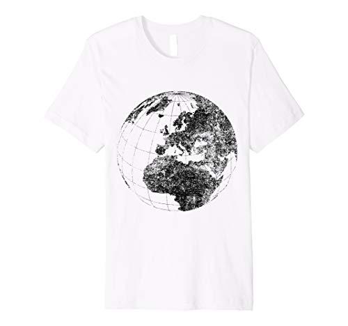Distressed Globe T-Shirt, Grunge Effect World Earth Shirt