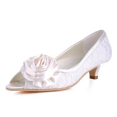 Wuyulunbi@ Pizzo/Satinata Matrimonio Donna Chunky Heel Peep Toe Tacchi Scarpe Con Fiore(Più Colori) Noi9.5-10 / EU41 / UK7.5-8 / CN42