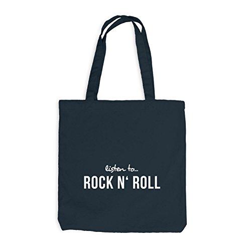 Jutebeutel - Listen To Rock N' Rock - Music Fan Musik Dunkelgrau