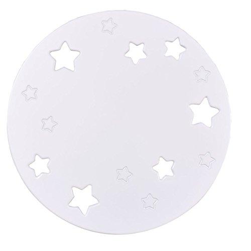 Bainba Aplique de Pared Luna y Estrellas E27, Blanco, 36 x 36...