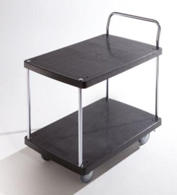 Servier-Tischwagen – 2 Etagen, 1 Schiebebügel Tragfähigkeit 150 kg – Beistellwagen Tischwagen Wagen Werkstattwagen Etagenwagen Kunststoff-Wagen Plattformwagen - 2