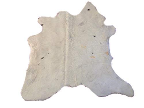 Kalbsleder Fellteppich Natür - Schön Weiß und Schwarz - 86 cm x 95 cm Echtes Designer Lederteppich von Narbonne Leder Co