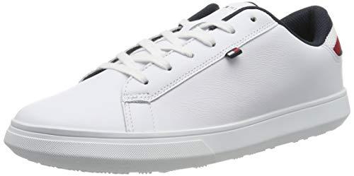 Tommy Hilfiger Herren Essential Leather Detail Cupsole Sneaker, Weiß (White 100), 43 EU Details Sneaker