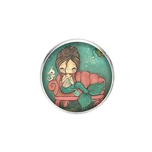 Edelstahl Brosche, Durchmesser 25mm, Stift 0,7mm, handgemachte Illustration Meerjungfrau