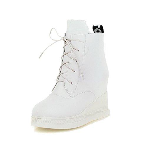 VogueZone009 Damen Rund Zehe Hoher Absatz Weiches Material Niedrig-Spitze Rein Stiefel Weiß
