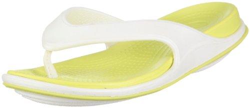 crocs CrocsTone TM Skylar Flip 11415, Damen, Sandalen/Zehentrenner, Elfenbein (Oyster/Citrus), EU 37/38 (US W7)