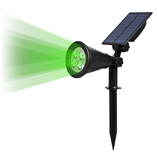 (Upgraded 250 Lumens) T-SUN 2 Stück LED Solarleuchten, 2-in-1 Wasserdicht Drahtlos Solarbetriebene Gartenleuchten für Hof, Wand, Garten, Rasen, Wege, Auffahrt, Terrasse (Grün)